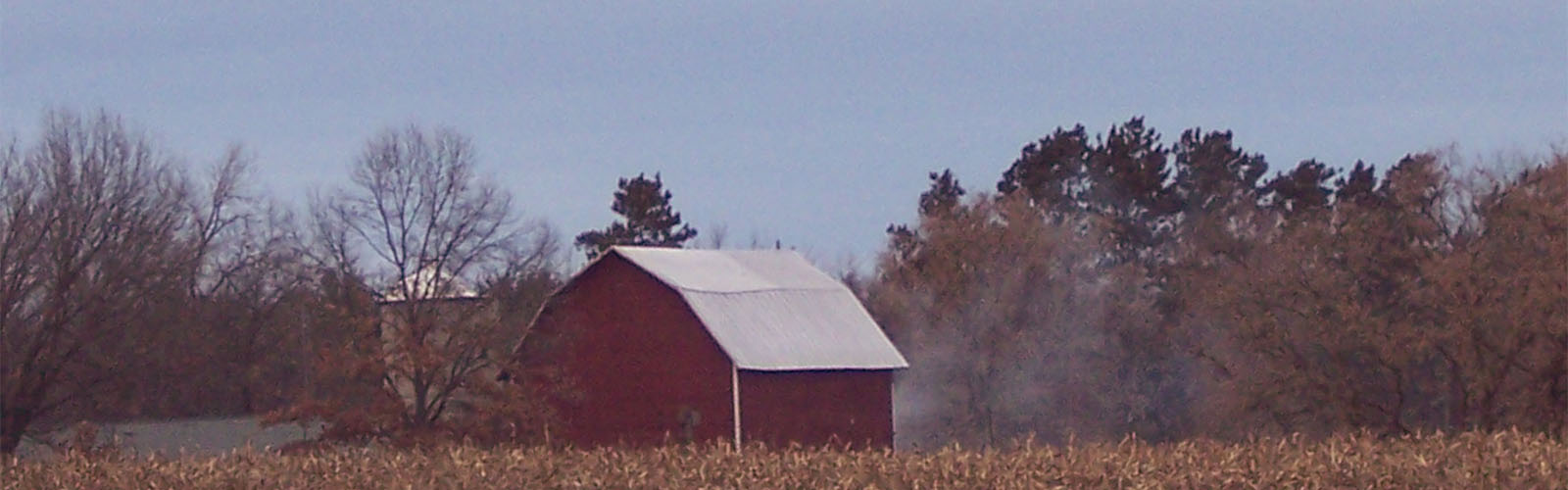 A red barn against a backdrop of trees and golden grain