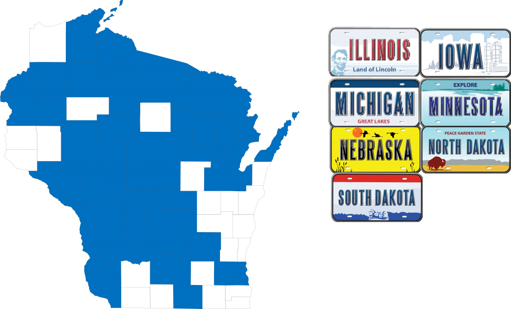 A map of Wisconsin with counties highlights in blue, and a list of stylized state license plates with the states Illinois, Iowa, Michigan, Minnesota, Nebraska, North Dakota, and South Dakota